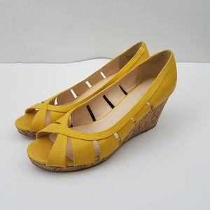 Nine West Yellow Leather Cork Wedge Peep Toe 8.5M
